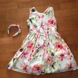 Pink and green floral girls party dress